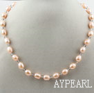 Wholesale Classic Design 8-9mm Pink Freshwater Pearl and Small Gray Crystal Necklace