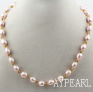 Classic Design 8-9mm Light Purple Freshwater Pearl and Small Yellow Crystal Necklace