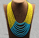 Multi Strands Multi lagdelte 4-5mm Yellow and Blue Glass Seed Necklace