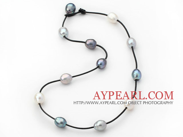 Single Strand 11-12mm White Gray and Black Freshwater Pearl Necklace with Black Leather
