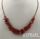 Simple Style Long Teeth Shape Red Jasper Necklace with Brown Thread