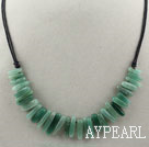 Wholesale Simple Style Long Teeth Shape Aventurine Necklace with Black Thread