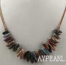 Simple Style Long Teeth Shape Indian Agate Necklace with Brown Thread