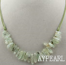 Wholesale Simple Style Long Teeth Shape Green Rutilated Quartz Necklace with Green Thread
