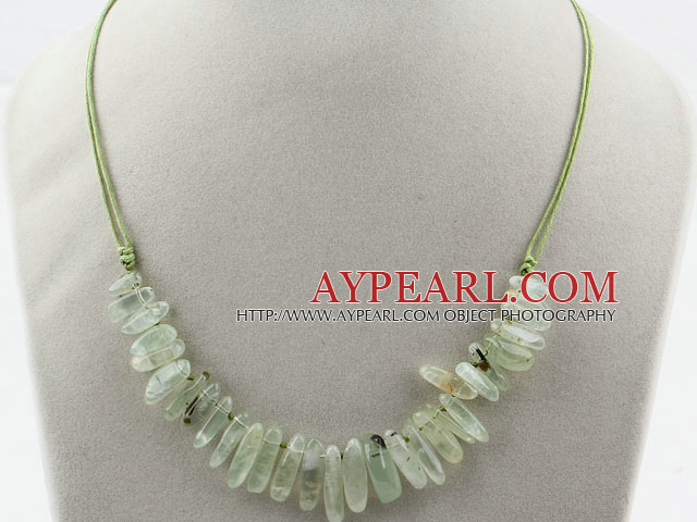 Simple Style Long Teeth Shape Green Rutilated Quartz Necklace with Green Thread