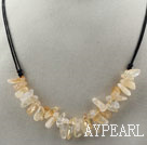 Simple Style Long Teeth Shape Citrine Necklace with Black Thread