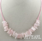 Wholesale Simple Style Long Teeth Shape Rose Quartz Necklace with Pink Thread