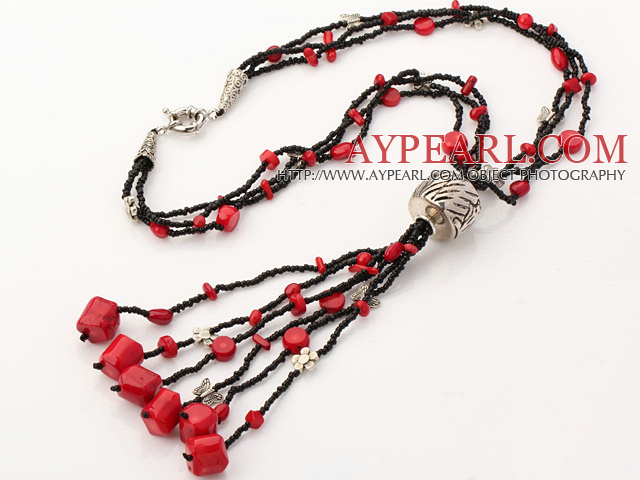 Fashion Multi Strand Assorted Red Coral Charm Beaded Y Shape Pendant Necklace
