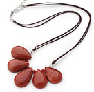 Nice Fan Shape Red Jasper Necklace With Brown Cords And Extendable Chain