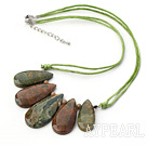 Fan Shape Peacock Stone Necklace with Green Thread