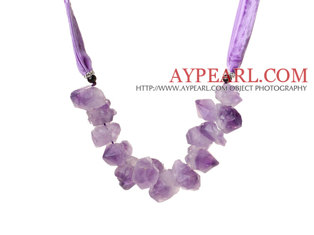 Summer Lovely Design Frosting Irregular Shape Amethyst Stone Necklace with Purple Soft Rope