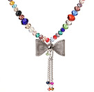 New Lovely Design Faceted Multi Color Manmade Crystal Pendant Necklace with Cute Bow Pendant