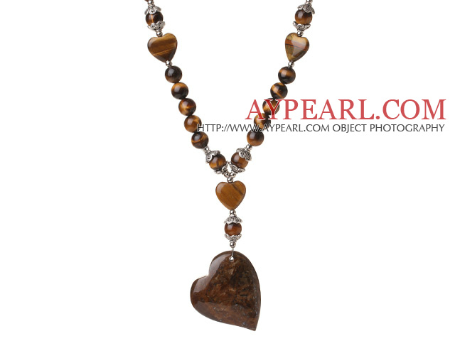 Fashion Beautiful Round Tiger Eye Beads with Heart Shape Pendant Necklace