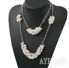 Wholesale Two Layer Natural White Freshwater Pearl Necklace with Metal Chain
