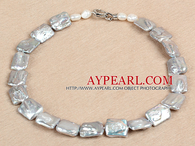Elegant A Grade Natural Gray Oblong Shape Rebirth Pearl Chunky Party Necklace
