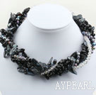 Assortert Multi Strands Svart tenner Shape Pearl Crystal og Black Agate halskjede