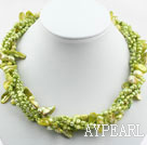 Assorted Multi Strands Yellow Green Color Teeth Shape Pearl Necklace