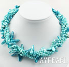 Wholesale Assorted Multi Strands Lake Blue Teeth Shape Pearl Necklace