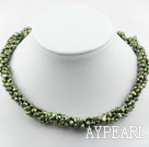 Wholesale 3-4mm Olive Green Freshwater Pearl Twistted Necklace