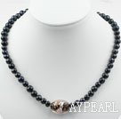 Wholesale Black Freshwater Pearl and Black Colored Glaze Necklace