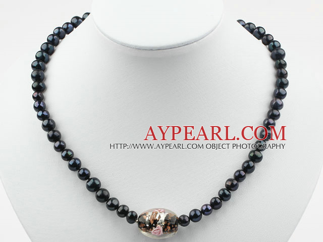 Black Freshwater Pearl and Black Colored Glaze Necklace