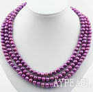 Wholesale Three Strands 8-9mm Round Dark Purple Pearl Necklace with Shell Flower Clasp