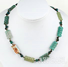 17 inches green agate necklace with lobster clasp
