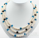 Wholesale Three Strands Round White Freshwater Pearl and Blue Black Agate Necklace with Shell Flower Clasp