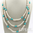 Wholesale Three Strands White Freshwater Pearl and Turquoise Necklace with Turquoise Clasp