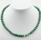 8-9mm Clasic Peacock Green Round Freshwater Pearl Beaded Necklace