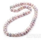 8-9mm Clasic Natural Pink Round Freshwater Pearl Beaded Necklace