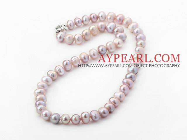 7-8mm Clasic Natural Pink Round Freshwater Pearl Beaded Necklace