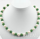 10-11mm White Freshwater Pearl and Aventurine Beaded Necklace