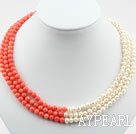 Wholesale Three Strands 5-6mm Round White Freshwater Pearl and Red Coral Necklace