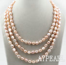 Wholesale Three Strands 8-9mm Pink Baroque Freshwater Pearl Necklace