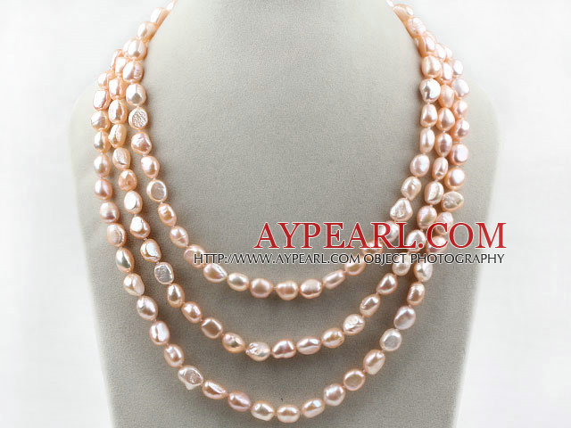 Three Strands 8-9mm Pink Baroque Freshwater Pearl Necklace