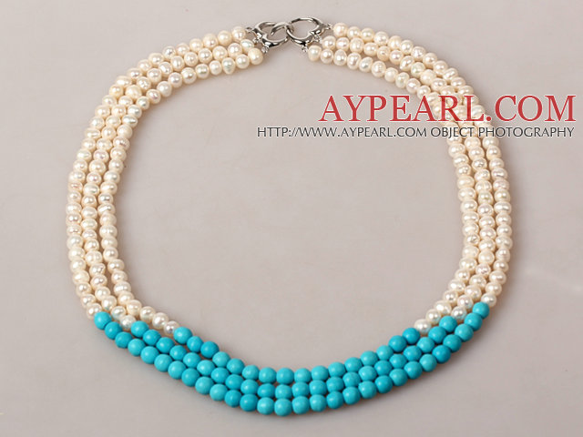 Three Strands White Pearl and Turquoise Beaded Necklace