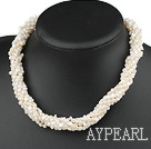 m white pearl multi strand 4mm hvit perle multi tråd necklace halskjede