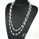 Wholesale Long Style White Freshwater Pearl and Blue Crystal Necklace