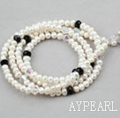 Wholesale White Freshwater Pearl Crystal Lanyards / Glass Chain