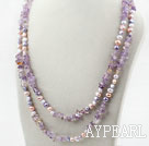 Long Style Purple Series Assorted Freshwater Pearl and Ametrine Necklace