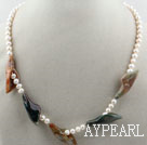 White Freshwater Pearl and Indian Agate Flower Necklace