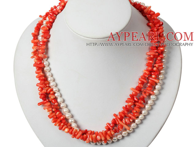 Three Strands Red Coral and White Pearl Necklace