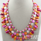 Assorted Multi Color Teeth Shape Freshwater Pearl and Multi Color Shell Necklace