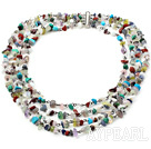 Wholesale Four Strands Assorted Multi Stone Necklace with Slide Clasp