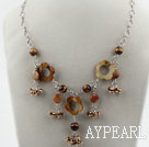 Wholesale Brown Series Freshwater Pearl Crystal and Tiger Eye Necklace with Metal Chain