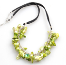 New Arrival Yellow Green Color Teeth Shape Pearl Necklace with Lobster Clasp