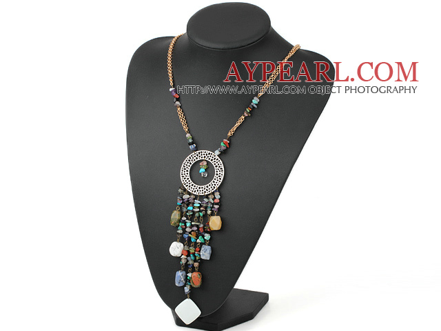 Assorted Multi Stone Pendant Necklace with Yellow Metal Chain