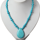 Blue Turquoise Necklace with Teardrop Turquoise Pendant