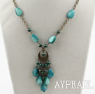 Green Freshwater Pearl and Drop Shape Green Shell Necklace with Bronze Chain
